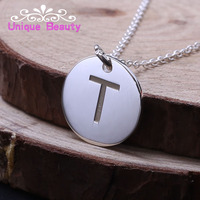 925 Sterling Silver Engraved Initial Necklace Small Disc Necklace 0.6 Inch Custom Single Letter Engraved Necklace Personalized