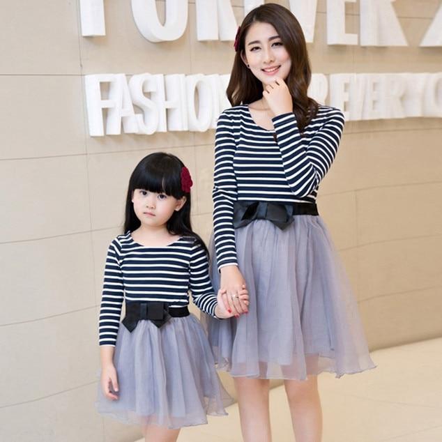 2015 madre e hija vestidos vestidos de fiesta de manga larga vestidos juego de madre e hija ropa trajes madre e hija vestido
