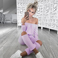 Autumn Lady Off Shoulder Sexy Knee Hollow Fashion Jumpsuit Casual Black Pink Big Yard Plus Size Rompers