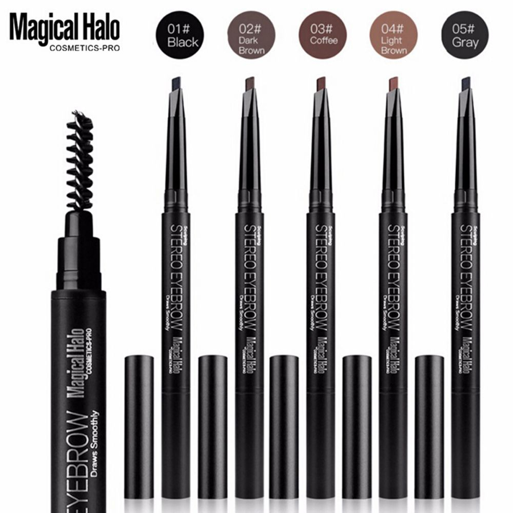 1Pcs Professional Automatic Eyebrow Pencil Liner Make Up Professional Black Eye Brow Pen with Brush Cosmetic Beauty Makeup Tools