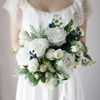 White Style Wedding Centrepiece Flowers Artificial Rose Peony Blueberry Bouquet Bridal Floral Bouquet