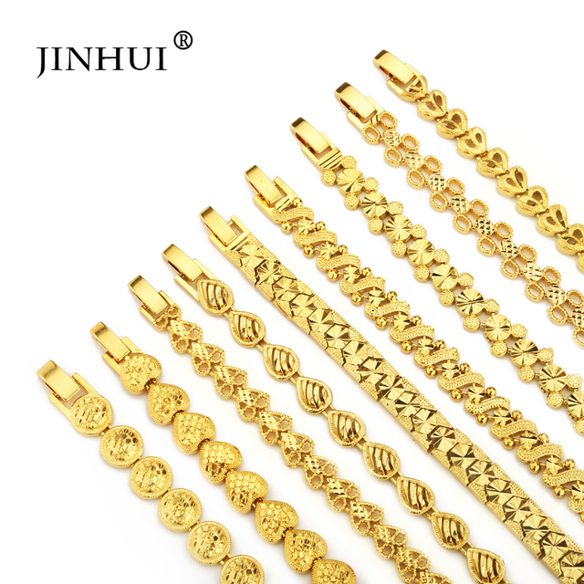 Jin Hui Fashion New African Ethiopia Gold color Men Bracelet Women Party Ornament Luxury Gifts for Friends Dubai Bangle Jewelry