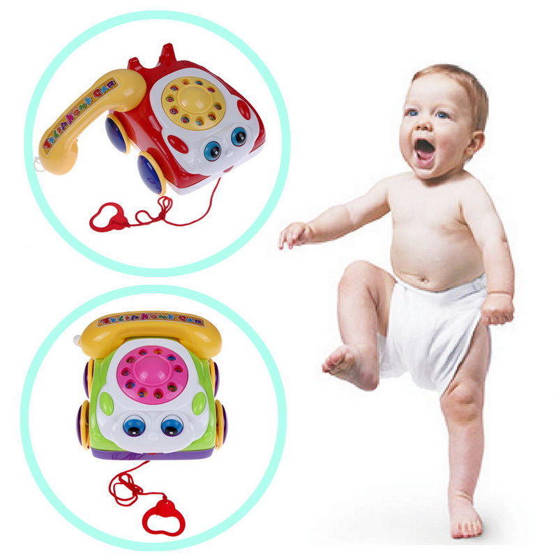 Basics Chatter Telephone Kids Phone Toy for Baby Walking Assistant Colorful Children Fun Music Phone Toy For Kids Birthday Gift