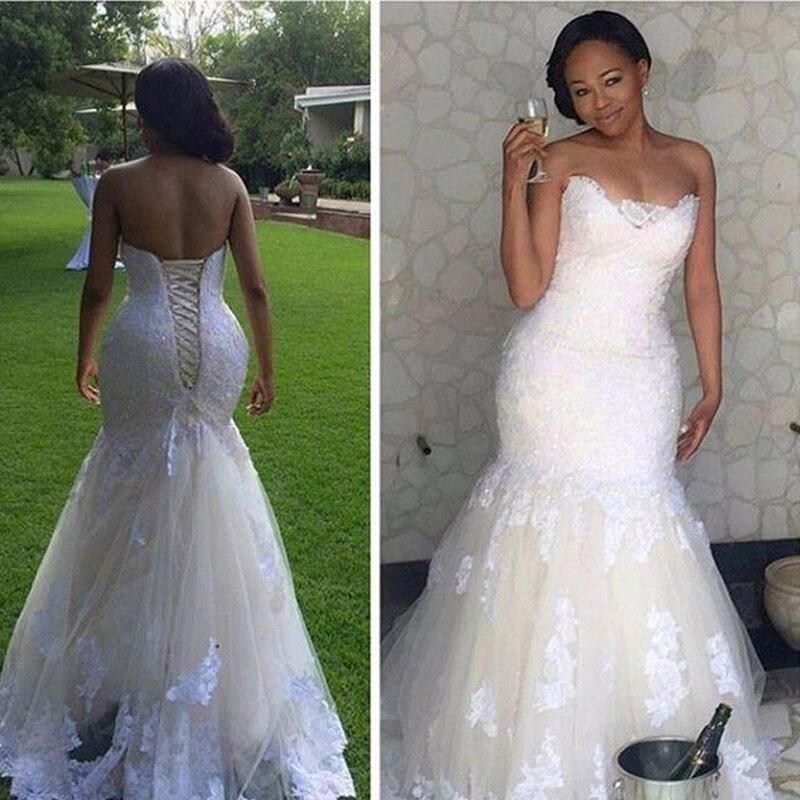 A Line White Tulle Wedding Dress 2017 Arabic Bridal: Vintage Lace Up Wedding Dresses Mermaid 2017 Strapless