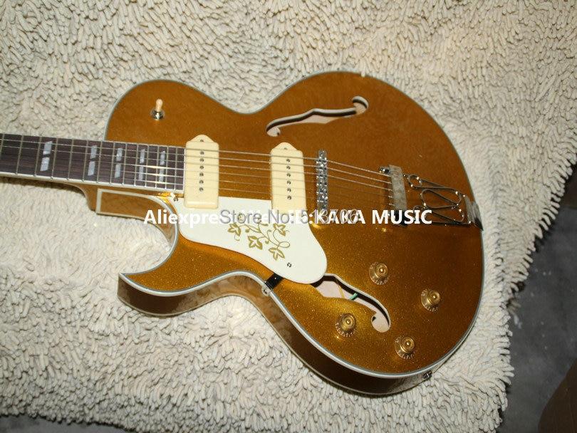 Left handed Guitars Custom Hollow Goldtop Jazz Guitar Wholesale Guitars HOT