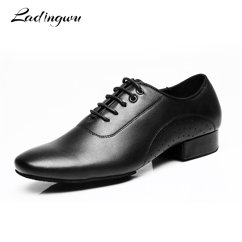 Ladingwu Genuine Leather Dance Shoes Men Sneakers Black Latin Ballroom Shoes Low Latin Heel 2.5cm Modern Dance Shoes New