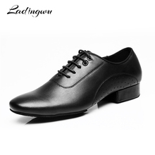 Ladingwu Genuine Leather Dance Shoes Men Sneakers Black Latin Ballroom Low Heel 2.5cm Modern New