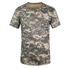 Новая уличная камуфляжная футболка для охоты Мужская дышащая армейская тактическая Боевая футболка Военная сухая Спортивная Camo Camp Tees-ACU Green