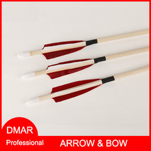 12pcs Ture Feather Wooden Arrow 31″ Fletching 4″ O.D. 8mm/0.3″ Spine700 for Recurve Bow Compound Bow Long Bow Hunting/Archery