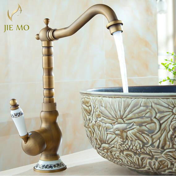 NEW Free Shipping Classic Deck Mount Single Hand Bathroom Sink swivel Mixer Faucet Antique Brass Hot and Cold Water Tap 2235-in Basin Faucets from Home Improvement    1