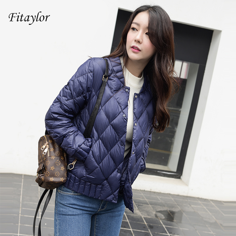 Fitaylor 2020 New Autumn Winter Women Ultra Light White Duck Down Jacket Plus Size 3XL O Neck Slim Short Warm Down Coats Outwear