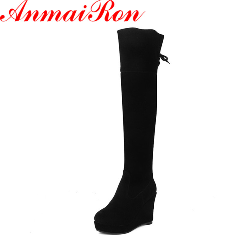ФОТО ANMAIRON High Heels Zippers Winter Boots Shoes Woman Long Boots Platform Shoes Wedges Round Toe Sexy Red Over-the-knee Boots