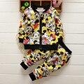 Nova Moda Unissex Primavera Outono Conjuntos de Roupas de Bebê Crianças Meninos Ternos Bonitos Bebês Tops + pants 2 pcs Set Infantil Roupas de menina
