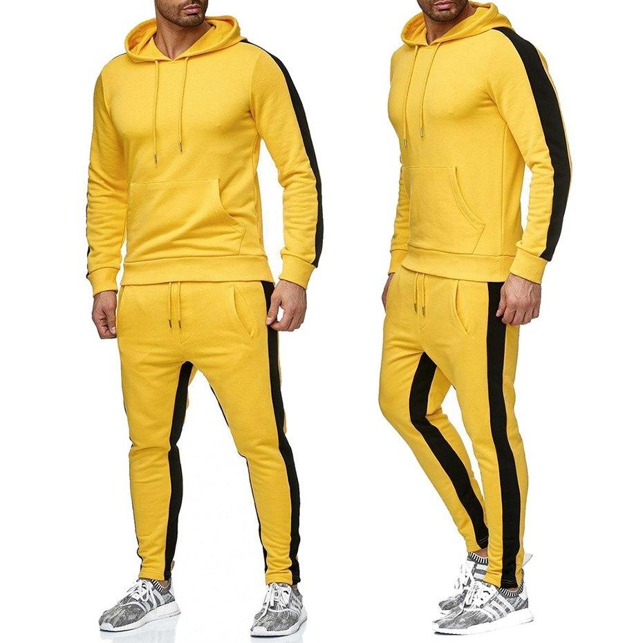 Zogaa Men's Two Piece Sportswear Jogging Pullover Hoodie Sweatpants Set Sweat Suit Tracksuit