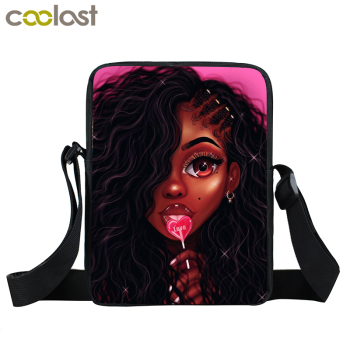 Afro Lady Girl messenger bag Africa Beauty Princess small shoulder bag brown women handbag mini totes teenager crossbody bags 2