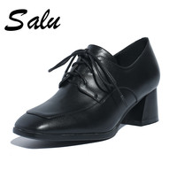 Salu 2019 Spring New Elegant Genuine leather Women Mary Janes Pumps Shallow Med Wide Heels Office Shoes Woman casual