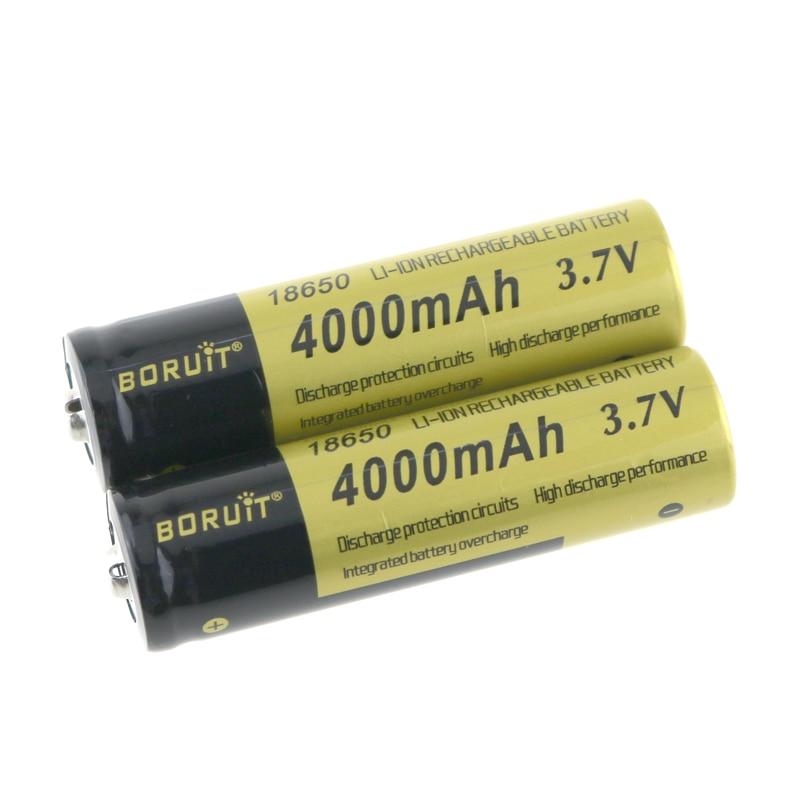 2PCS Rechargeable 18650 Battery 4000mAh 3.7V Li-ion 18650 Batteries LED Flashlights Headlight Headlamps 18650 Battery tangsfire imr18650 3 7v 1800mah rechargeable li ion 18650 batteries black yellow 2 pcs