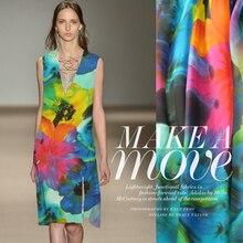 2015 Мода Красочные Цветочные Печати 100% Шелк Шифон Материал Для DIY Лето/Пляж Платье 1 Метра 6 Mommie