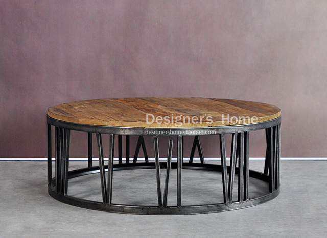 American Country Wrought Iron Wood Furniture Retro Roman Numerals Round  Coffee Table Coffee Table Coffee Table