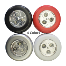 цена 4 Colors 3 LED Closet Under Cabinet Lamp AAA Battery Powered Wireless Touch Switch Kitchen Wall Car Night Light for Car Boot