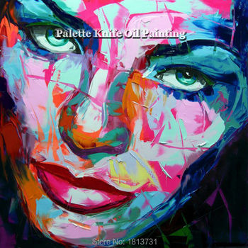 Hand painted Francoise Nielly Palette knife portrait Face Oil painting Character figure canva wall Art picture16-41