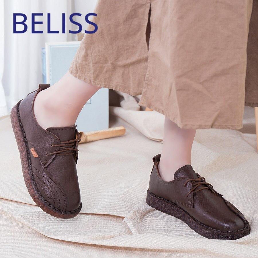 BELISS лоферы на шнуровке Повседневная обувь на плоской подошве ручной работы 2018 весна-осень телячья кожа мягкая удобная обувь гибкая P4
