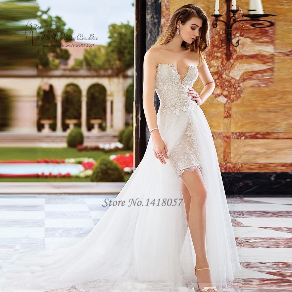 Vintage Detachable Skirt Wedding Dress 2017 Lace Bride