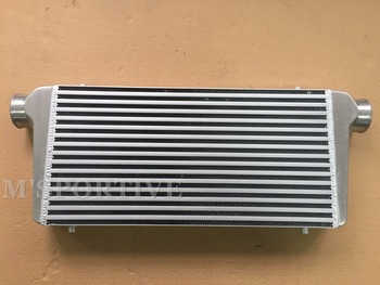"""M'SPORTIVE 600*300*76mm Universal Turbo Intercooler bar&plate Front Mount intercooler Polished with 3"""" Inlet/Outlet"""