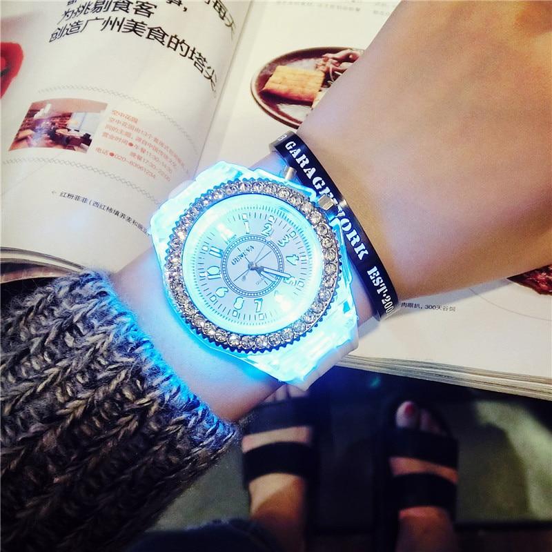 Creative LED flash women Watches top Brand Luxury Casual Quartz Watch female Ladies watches Women Wristwatches