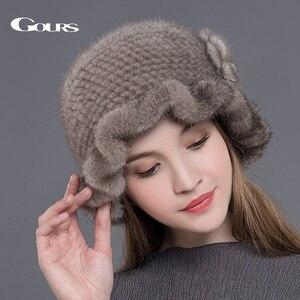 Image 2 - Gours Pelz Hüte für Frauen Gestrickte Natürliche Nerz Fedoras Dicke Warme In Winter Beanies Caps Fashion mit Floral Neue ankunft