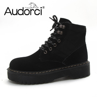 Audorci 2018 High Quality Women Boots Lace Up Fashion Suede Warm Winter Ankle Boots Woman Shoes