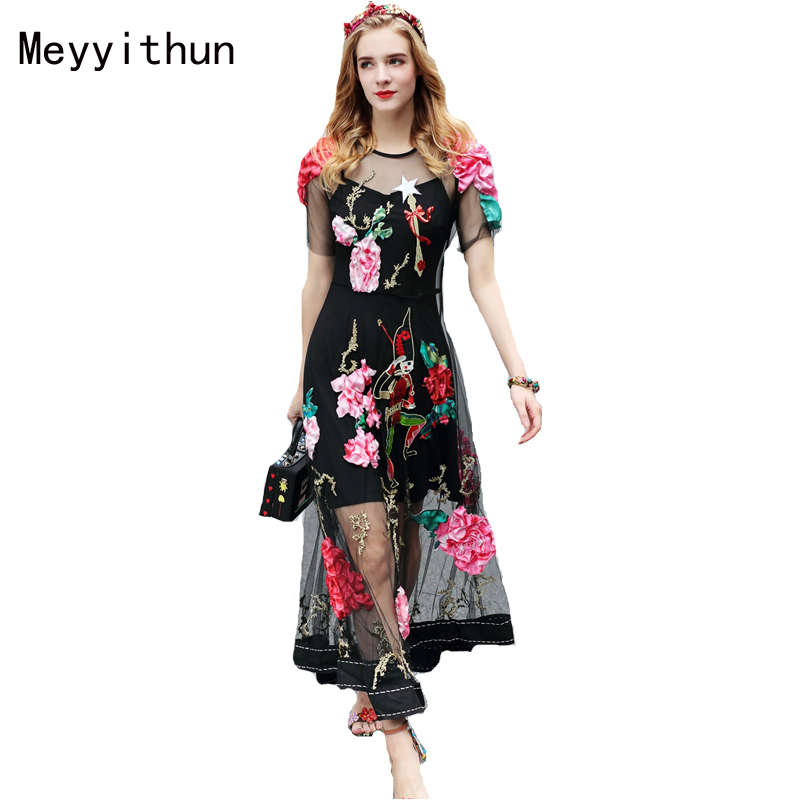Meyyithun Factory wholesale Occident New Runway Luxurious Embroidered Custom made Holiday Long Dress 170210JT01