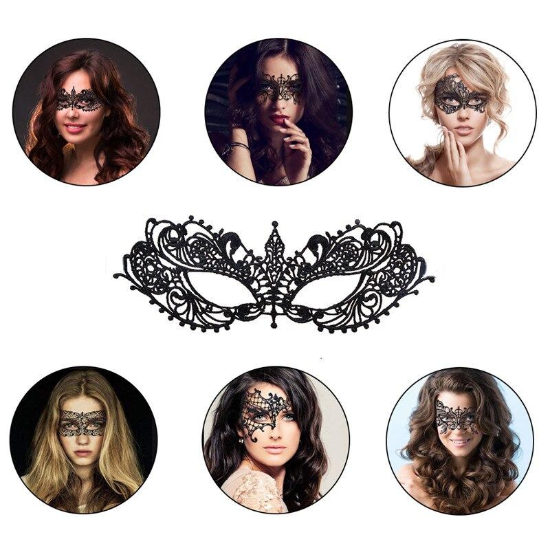 shunyoutong 1PCS Black Sexy Lady Lace Mask Masquerade Eyemask Women Eye Mask for Halloween Carnival Ball Party Dance Masks Accessories