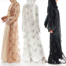 Muslim Women's Long Skirt Cardigan Luxury Sequin Embroidery Lace Seamless Outwear dragonfly embroidery sequin skirt