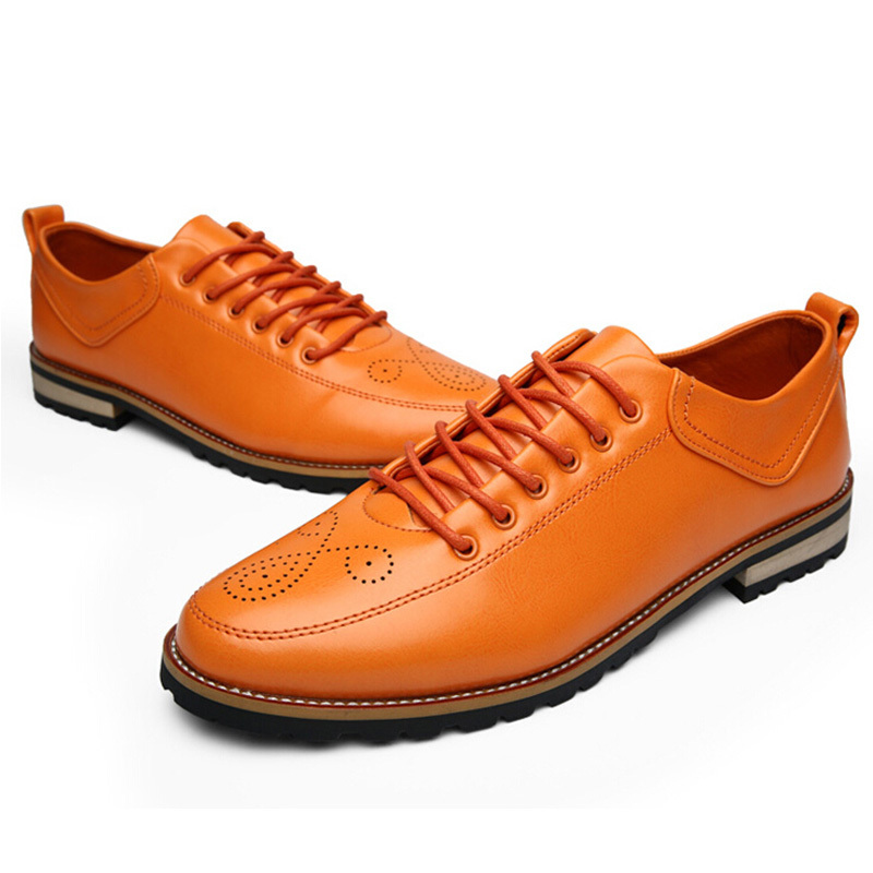 Simples Mâle Casual blue En Laçage Oxford Printemps Mode Pointu Cuir Richelieu Respirant Hommes Nouveau orange Été Sculpté Black Bout Chaussures qXgRF7xw