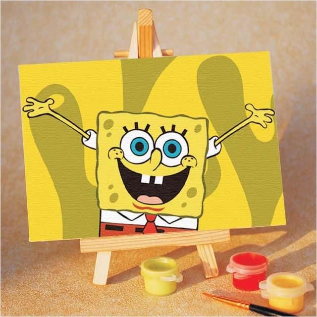 Sponge Bob Paint By Number Kit Drawing Toy Set 15x10cm 6 X4 Diy