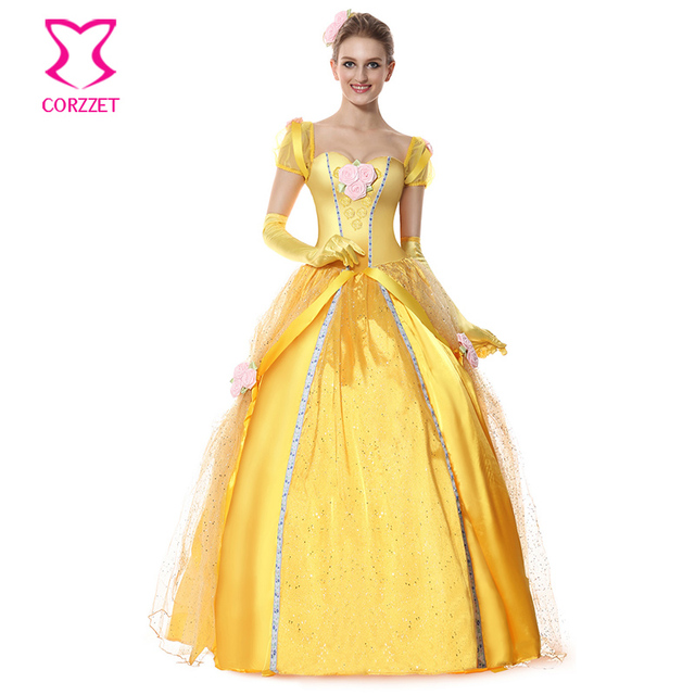 Cosplay Women Deluxe Beauty and the Beast Princess Belle Costume Floral  Applique Yellow Satin Fancy Ball