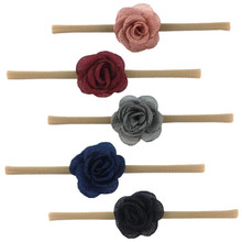 10 шт./партия 2 ''обожженная тканевая Роза Обнаженная нейлоновая повязка на голову свернутая seersuck Camelia Flora супер милые аксессуары для волос