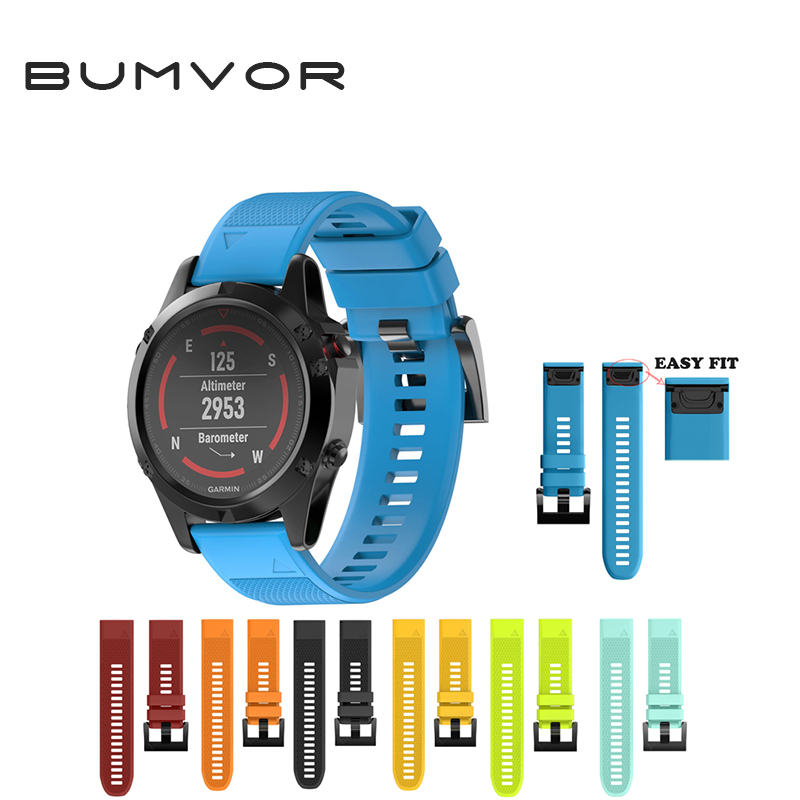 BUMVOR Watchband Strap for Garmin Fenix 5 Easy Fit Replacement Band for forerunner 935 GPS Watch Silicone Easyfit WristBand outdoor sport strap for garmin fenix 5 metal band with quick fit stainless steel watchband 22mm width for garmin forerunner 935