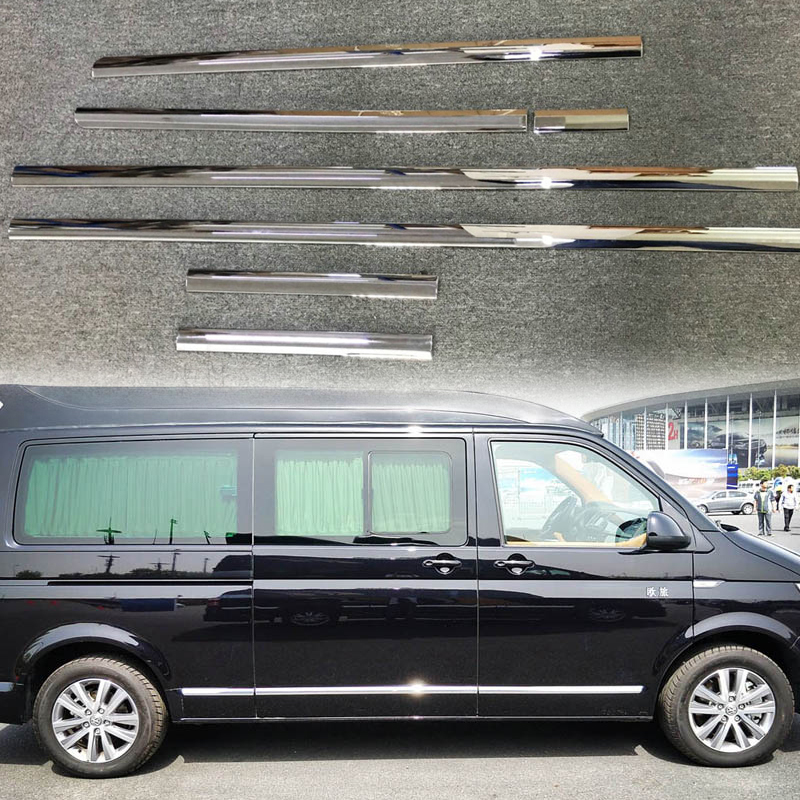 ABS Chrome Molding Door Body Strips Cover 7pcs Car Accessories Cover For Volkswagen Transporter Caravelle T6 2016 17 2018