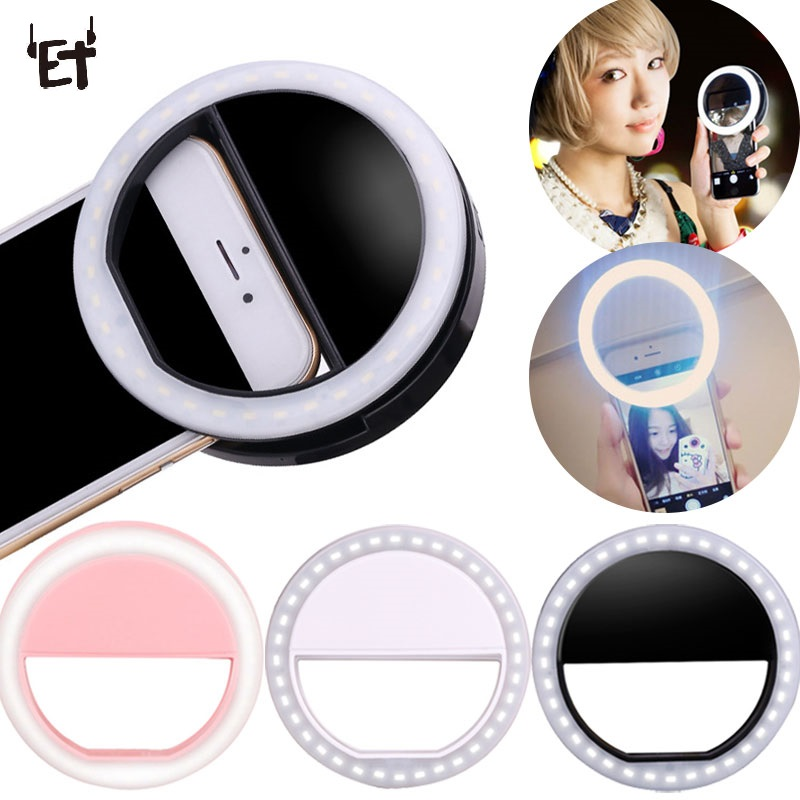 ET Universal Phone Selfie LED Flash Light Universal Teléfono móvil Selfie Luminous Ring Clip Lens para iPhone Samsung Xiaomi Huawei