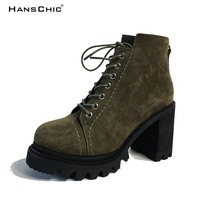 HANSCHIC 2017 New Arrival Dark Green Special Design PU Leather Ladies Womens Casual Boots for Female 7771