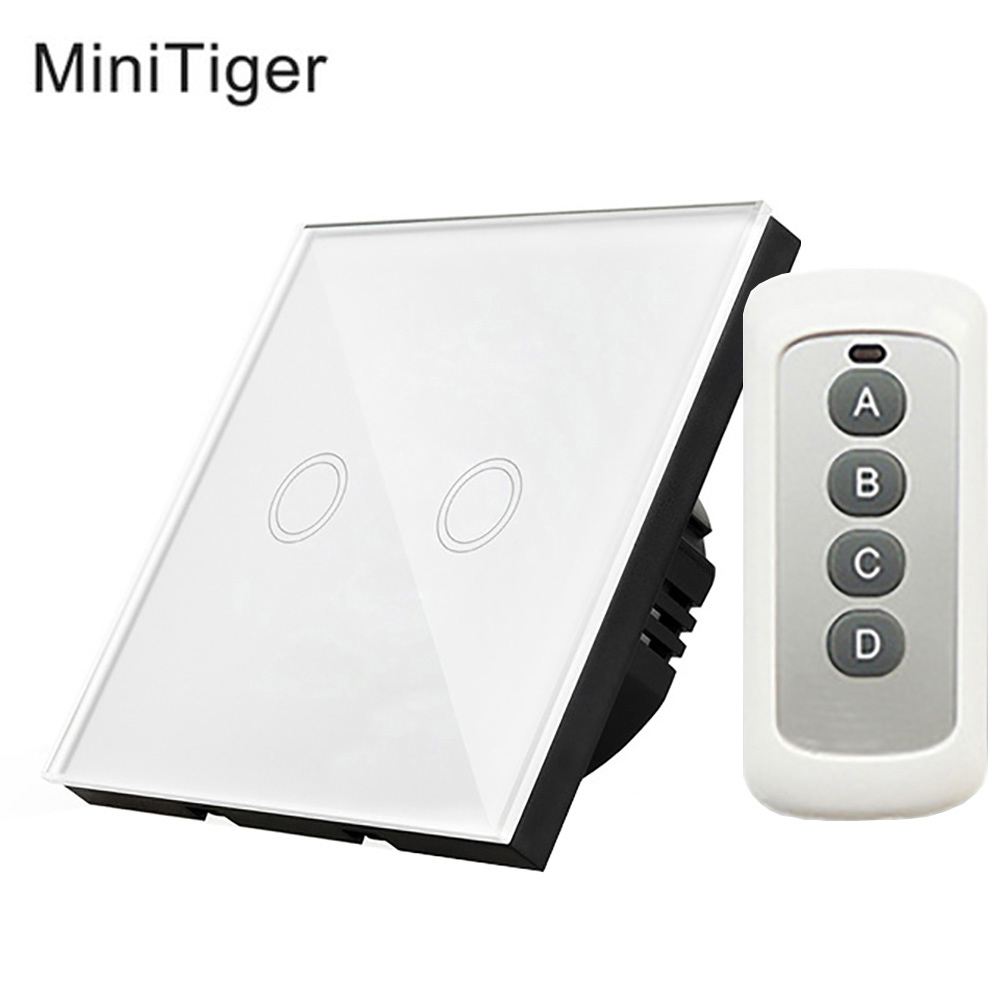 Minitiger Smart Home Remote Wireless Touch Switch 2 Gang 1