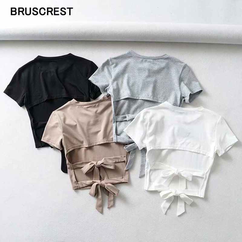Vintage Summer Top Black White T Shirt Crop Top Women Backless Boe Tie Hollow Out Short Sleeve Sexy Tshirt Streetwear