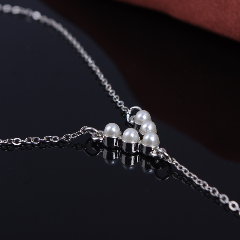 JINSE Women Imitation Pearls Chain Link Bangle Slave Finger Ring Hand Rings V Shape Hand Chain Wrist To Finger 3PCS LOT HC040 in Chain Link Bracelets from Jewelry Accessories