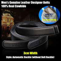 VADO Black 3cm Width Men Genuine Leather Belts Waistband 100 Real Cowhide Straps Automatic Buckle Without