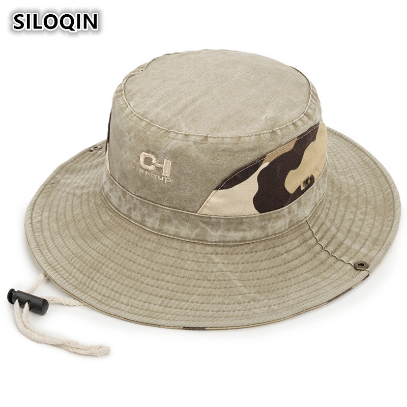 SILOQIN New Style Men 39 s Flat Cap Summer Retro Denim Cotton Bucket Hats Men Fashion Wind Rope Fixed Dad Fishing Hat Visor Hat in Men 39 s Bucket Hats from Apparel Accessories