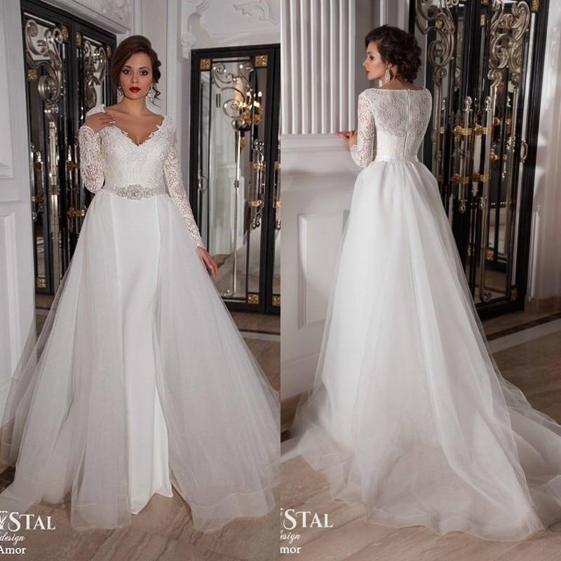 2017 Portrait Long Lace Sleeve V Neck Wedding Dress