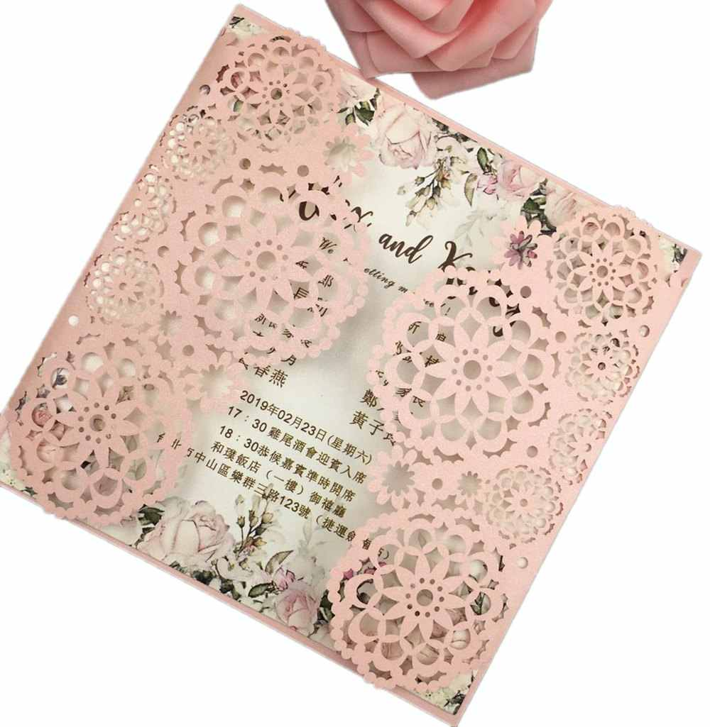 Free Drop Shipping sample tiffany Gold Red White Laser Cut Invite Floral Wedding Invitations Card Elegant Lace Favor Envelopes
