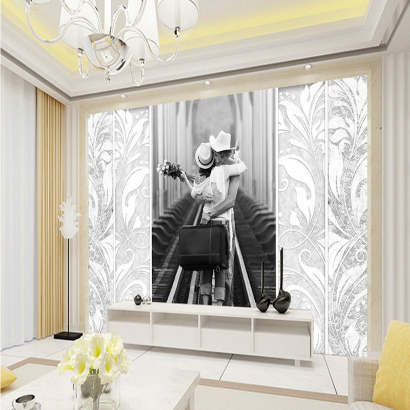 custom wall mural Black white European-style romantic TV background wall high quality bathroom mural 3D stereo bedroom wallpaper free shipping hepburn classic black and white photos wallpaper old photos tv background wall mural wallpaper